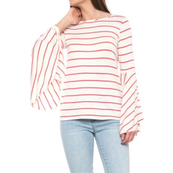 Alison Andrews Tops - Alison Andrews Striped Ruffled Sleeve Shirt - NWT